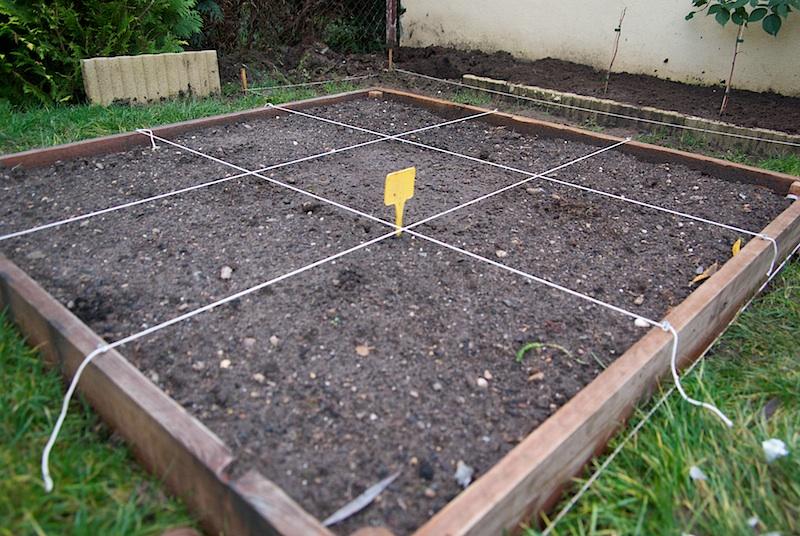 Délimitation des carrés potager.
